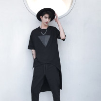 T-shirt Fashion City black routine M,L,XL Others elbow sleeve Crew neck standard daily summer routine 2018