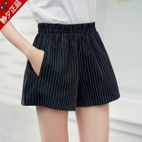 Casual pants Classic black and white stripes, fashion gray stripes S 80 to 116 kg, m 116 to 130 kg, l 130 to 150 kg Spring of 2018 shorts Wide leg pants High waist commute Thin money 18-24 years old jx005 Quiet evening Korean version pocket