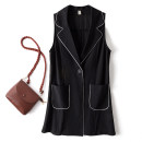 Women's large Summer 2021 black Large L, large XL, 2XL, 3XL, 4XL, 5XL Vest singleton  commute easy moderate Cardigan Sleeveless Solid color Korean version Polo collar Medium length Polyester, polyester Three dimensional cutting routine 5589 25-29 years old Diamond inlay rivet