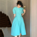 Dress Summer 2021 longuette singleton  Short sleeve commute Crew neck Solid color High waist Condom 18-24 years old A-line skirt routine More than 95% other Other SC1599 Korean version Shu Chen Frenulum Other 100% S M L XL