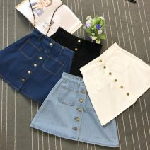 skirt Summer 2017 Within l recommendation 115, XL recommendation 125, m recommendation 105 and s recommendation 95 The length of light blue skirt is about 41, white skirt is about 41, black skirt is about 41, and dark blue skirt is about 41 Short skirt commute High waist A-line skirt Solid color