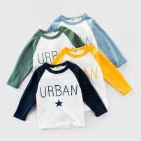 T-shirt Blue, Navy, green, yellow 27KIDS 120cm,100cm,130cm,110cm,90cm,140cm neutral Spring and autumn, spring, autumn Long sleeves Crew neck Korean version No model Pure cotton (100% cotton content) letter Class A 10 years old