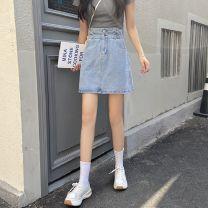 skirt Summer 2021 S M L XL XXL blue Short skirt commute High waist A-line skirt Solid color Type A 18-24 years old Denim Hi Zi Shun Button Pure e-commerce (online only)