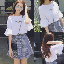 T-shirt white XXL M L XL Summer of 2019 Short sleeve Crew neck easy Regular pagoda sleeve commute polyester fiber 86% (inclusive) -95% (inclusive) 18-24 years old Korean version originality Love song Polyester 95% polyurethane elastic fiber (spandex) 5% Pure e-commerce (online only)