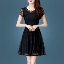 Dress Summer of 2019 black M L XL 2XL 3XL Middle-skirt singleton  Short sleeve commute Crew neck middle-waisted Solid color Socket A-line skirt routine Others 35-39 years old Type A Susie Li Korean version Cut out embroidery hook cut out stitching zipper lace SXL19L5356 More than 95% other