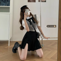 Women's large Spring 2021, summer 2021 Plaid vest, short sleeve shirt, skirt Large L, large XL, m, 2XL, 3XL, 4XL shirt Three piece set commute Straight cylinder Short sleeve Solid color Korean version Polo collar routine polyester fiber routine 18-24 years old Short skirt