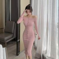 Dress Autumn 2020 Very tight show thin black, very tight show thin dirty pink, very tight show thin coffee color, collection and purchase priority delivery L,S,M Short skirt singleton  Short sleeve commute High waist Single breasted 18-24 years old Other / other 30% and below