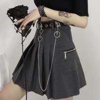 skirt Summer 2020 M, L Gray, black, collect and buy priority delivery Short skirt commute High waist Pleated skirt Solid color Type A 18-24 years old 30% and below chain Korean version