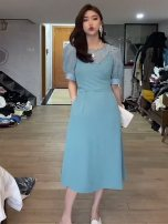 Dress Summer 2021 Blue, black, apricot S,M,L Mid length dress Two piece set Short sleeve commute Crew neck High waist Solid color Socket A-line skirt puff sleeve Type A Korean version More than 95% other