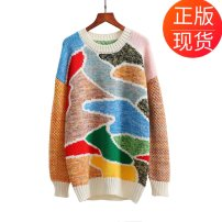 sweater Spring of 2018 S,XS,L,M Rainbow in stock Long sleeves Socket singleton  other 71% (inclusive) - 80% (inclusive) Crew neck thickening street routine shape Straight cylinder Keep warm and warm 25-29 years old Splicing, asymmetry, 3D, resin fixation acrylic fibres