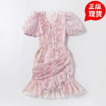 Dress Summer 2020 Pink and daidzu in stock issued on the same day XS,XXS singleton  Short sleeve Sweet V-neck High waist Decor Ruffle Skirt puff sleeve 25-29 years old Type A Other / other polyester fiber Bohemia
