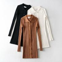 Dress Autumn 2020 White, black, brown S, M Mid length dress singleton  Long sleeves street Solid color Single breasted other other Others 81% (inclusive) - 90% (inclusive) Europe and America