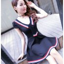 Dress Spring 2020 S,M,L,XL,2XL Short skirt singleton  Short sleeve Sweet tailored collar middle-waisted Solid color Socket A-line skirt routine Others 18-24 years old Type A Ruili