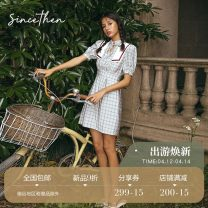 Dress Summer 2020 Picture color (in stock) S M L Short skirt singleton  Short sleeve commute V-neck High waist A-line skirt 18-24 years old since then Retro 30% and below brocade nylon Polyamide fiber (nylon) 25% others 75% Pure e-commerce (online only)