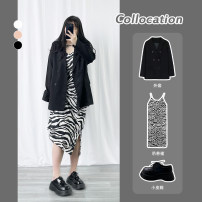 Women's large Spring 2021 Black coat, pink coat, picture skirt Large XL, large XXL, large XXL, large L singleton  commute easy Socket Long sleeves Solid color Korean version Crew neck routine Polyester, cotton routine Other / other 18-24 years old 51% (inclusive) - 70% (inclusive) zipper