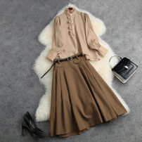 Dress Summer 2021 Khaki Top + Khaki Skirt (belt) S M L XL longuette singleton  Long sleeves commute stand collar High waist Solid color Socket A-line skirt routine Others 18-24 years old Type A Dream of clothes Korean version Button 71872a More than 95% polyester fiber Polyester 100%