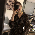 Dress Autumn 2020 Floral Dress S M L XL longuette singleton  Long sleeves commute V-neck High waist Broken flowers Socket A-line skirt puff sleeve Others 18-24 years old Yingnafi Korean version More than 95% polyester fiber Polyester 100% Pure e-commerce (online only)