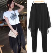 Casual pants Black (thin) Summer 2021 trousers Wide leg pants High waist commute Thin money Korean version