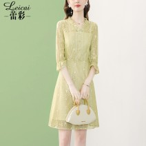 Dress Spring 2021 green S M L XL XXL XXXL Middle-skirt singleton  three quarter sleeve commute V-neck middle-waisted Solid color zipper A-line skirt routine 35-39 years old Type A Lei CAI Ol style Stitching three-dimensional decorative button zipper L21CL34086 More than 95% polyester fiber