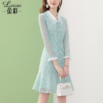 Dress Spring 2021 Light green S M L XL XXL XXXL Middle-skirt singleton  Long sleeves commute Doll Collar middle-waisted zipper A-line skirt routine 35-39 years old Type A Lei CAI Ol style 71% (inclusive) - 80% (inclusive) nylon Polyamide (nylon) 80% cotton 20%
