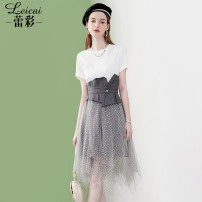 Dress Summer 2021 Color matching S M L XL XXL Middle-skirt Fake two pieces Short sleeve commute Crew neck Socket A-line skirt routine 35-39 years old Type A Lei CAI Ol style Hollow out embroidered pleated stitching bead gauze mesh lace waist cover L21XL34439 More than 95% cotton Cotton 100%