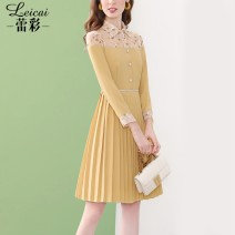 Dress Spring 2021 yellow S M L XL XXL XXXL Middle-skirt singleton  Long sleeves commute stand collar middle-waisted Solid color zipper Pleated skirt routine 35-39 years old Type A Lei CAI Ol style Pleated embroidery pleated stitching button mesh zipper printing L21CL33855 polyester fiber