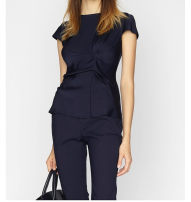 shirt Navy Blue 2,4,6,8,10 Spring of 2019 silk 91% (inclusive) - 95% (inclusive) Short sleeve commute Regular Crew neck zipper routine Self cultivation Ports Ol style