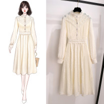 Dress Spring 2021 Apricot white apricot 3 picture colors S M L XL Mid length dress singleton  Long sleeves commute stand collar middle-waisted Solid color Socket A-line skirt routine Others 18-24 years old Type A Dongyin Korean version More than 95% other Other 100% Pure e-commerce (online only)