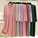 Dress Autumn 2020 Black, light gray, light blue, light purple, dark green, lotus root pink, light pink, light khaki, brick red The average size is 80-130 Jin, and the extra size is 130-180 Jin Mid length dress singleton  Long sleeves commute Crew neck Loose waist Solid color Socket Big swing routine