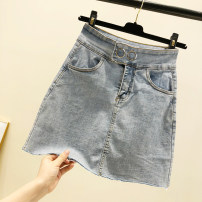 skirt Summer of 2019 S,M,L Light blue, milky white Short skirt Versatile Natural waist A-line skirt Solid color Type A 18-24 years old 31% (inclusive) - 50% (inclusive) Denim other