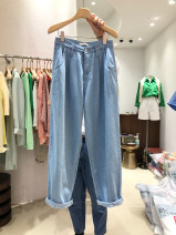 Casual pants blue S,M,L,XL Summer 2021 trousers Straight pants High waist commute routine 18-24 years old 51% (inclusive) - 70% (inclusive) other Korean version