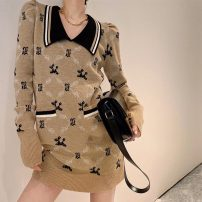 Dress Winter 2020 Picture color S M L XL longuette singleton  Long sleeves commute Polo collar middle-waisted lattice Socket A-line skirt routine Others 25-29 years old Tonkinese  Korean version Splicing More than 95% polyester fiber Polyester 100% Exclusive payment of tmall