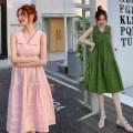 Dress Other / other M,L,XL,XXL Korean version Sleeveless Medium length summer V-neck Solid color