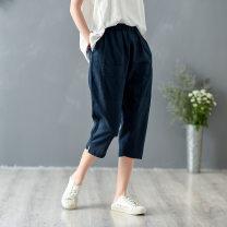 Casual pants Black, white, navy Average size Summer 2020 Cropped Trousers Pencil pants Natural waist commute routine 51% (inclusive) - 70% (inclusive) hemp literature pocket hemp