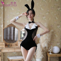 Fun suit Fei Mu Spandex polyester nylon Bunnies in nightclub 7077 Tight coating style Cat / Rabbit Netting 7077 Bunny suit 7077 Black + white [rabbit ear hair band + bow tie + open crotch Jumpsuit + BRACELET * 2]