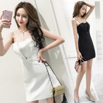 Dress Summer of 2018 White, black S,M,L Short skirt singleton  Sleeveless commute One word collar High waist Solid color zipper A-line skirt camisole 25-29 years old Type A Other / other lady Splicing acrylic fibres