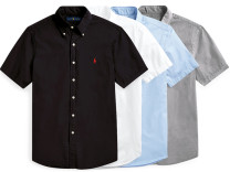 shirt Business gentleman Abubirment Feocn M,L,XL,2XL White, gray, black, pink, green, sky blue, sapphire blue, orange Thin money Button collar Short sleeve standard Other leisure summer youth American leisure 2020 Solid color oxford washing cotton Embroidery More than 95%