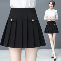 skirt Summer 2020 S M L XL XXL XXXL black Short skirt commute High waist A-line skirt Solid color Type A 25-29 years old 31% (inclusive) - 50% (inclusive) Xuan feilang nylon Button Korean version Pure e-commerce (online only)