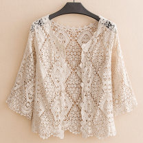 Lace / Chiffon Summer of 2019 White apricot L XL 2XL three quarter sleeve commute Cardigan singleton  Self cultivation Regular V-neck Solid color routine Ding Manzi Lace Korean version 96% and above Other 100% Pure e-commerce (online only) cotton