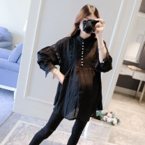 Shirt / Chiffon Long sleeves Other / other black M,L,XL Solid color stand collar Korean version spring and autumn