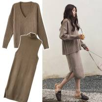 Dress Other / other Black, off white, peacock blue, camel M,L,XL,XXL Korean version Long sleeves Medium length autumn High collar Solid color Space cotton WS003306