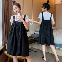 suit Other / other Picture white T-shirt, black suspender, black suspender suit M,L,XL leisure time summer 8821#