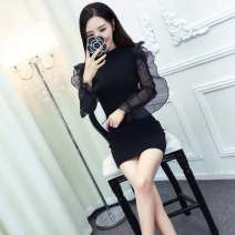 Dress Autumn of 2018 black S,M,L Short skirt singleton  Long sleeves commute Crew neck High waist Solid color zipper One pace skirt pagoda sleeve Others 18-24 years old Type H Other / other Korean version Lace, mesh, zipper G53655# More than 95% brocade polyester fiber