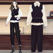 Women's large Spring 2021 Three piece jacket, two piece trousers with belt L [100-120 Jin recommended] XL [120-140 Jin recommended] 2XL [140-160 Jin recommended] 3XL [160-180 Jin recommended] 4XL [180-200 Jin recommended] Other oversize styles Three piece set commute Self cultivation moderate Socket