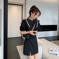 Dress Summer 2021 black S,M,L,XL Short skirt elbow sleeve Doll Collar puff sleeve Others 18-24 years old Other / other