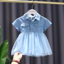 Dress wathet female Other / other The recommended height is about 75-80cm tag 80, 85CM tag 90, 90cm tag 100, 95cm tag 110 and 100-105cm tag 120 Other 100% summer Korean version Skirt / vest Solid color Cotton denim Splicing style 12 months, 9 months, 18 months, 2 years, 3 years, 4 years Taizhou City