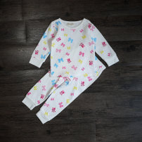 Home suit Other / other 90cm,100cm,110cm,120cm White, pink spring and autumn female Cotton 95% polyurethane elastic fiber (spandex) 5% 2 years old, 3 years old, 4 years old, 5 years old, 6 years old, 7 years old, 8 years old Moisture absorption and perspiration, at home Pure cotton (95% and above)
