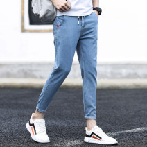 Jeans Youth fashion Edie Denny 27 28 29 30 31 32 33 34 36 38 111 blue 111 black routine Micro bomb Regular denim 223-1-111 Ninth pants Cotton 69.5% polyester 28.3% polyurethane elastic fiber (spandex) 1.7% other 0.5% spring teenagers middle-waisted Slim feet tide 2021 Little straight foot washing
