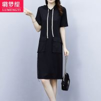 Women's large Summer 2021 L [recommended 100-118 kg] XL [recommended 120-133 kg] 2XL [recommended 135-148 kg] 3XL [recommended 150-163 kg] 4XL [recommended 165-178 kg] 5XL [recommended 180-200 kg] Dress singleton  commute moderate Socket Short sleeve Solid color Korean version Hood routine Z13020410