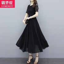 Dress Summer 2021 M L XL 2XL 3XL 4XL longuette singleton  Short sleeve commute Crew neck middle-waisted Solid color Socket Big swing routine Others 25-29 years old Type A Lumengti Korean version Hollowing out More than 95% other Other 100% Pure e-commerce (online only)